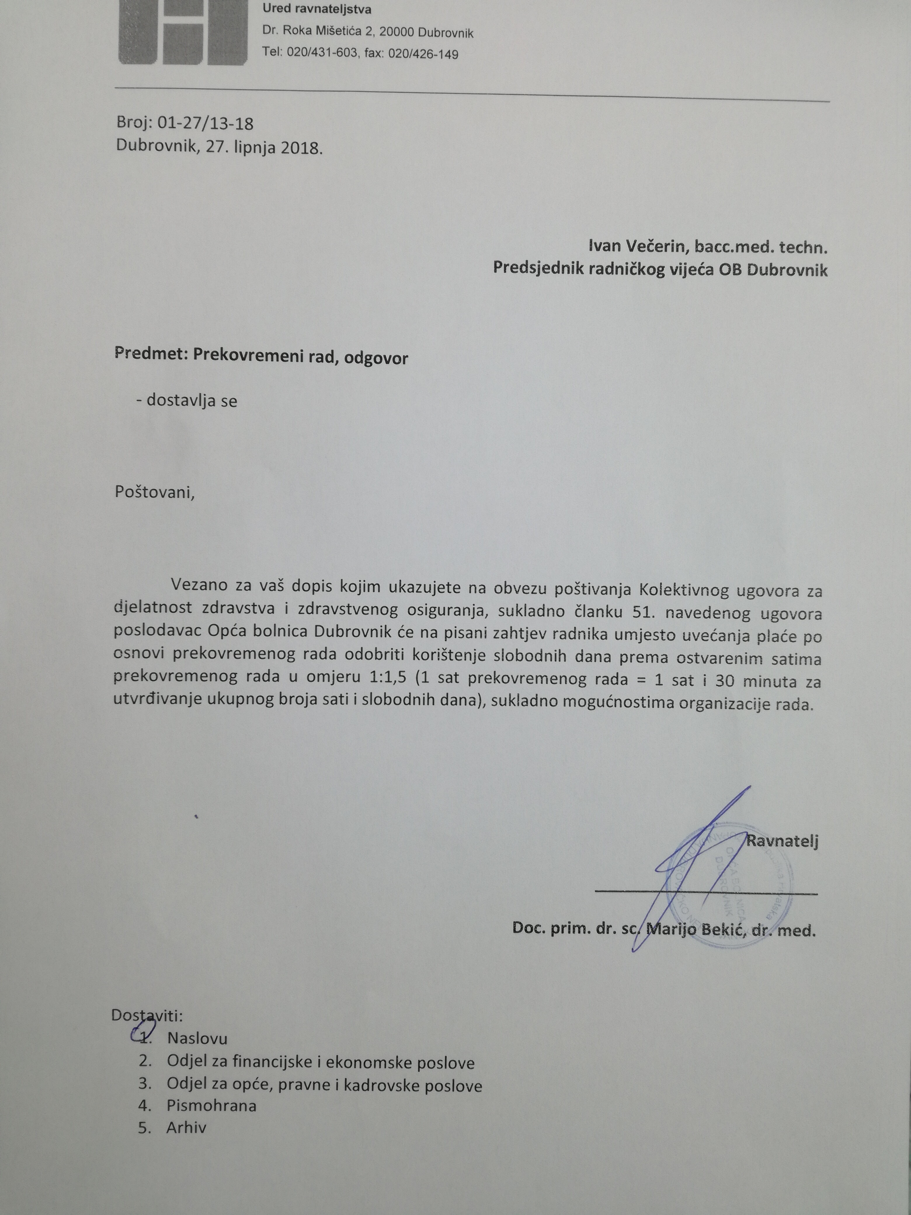 Odgovor Uprave na dopis vezan za prekovremeni rad