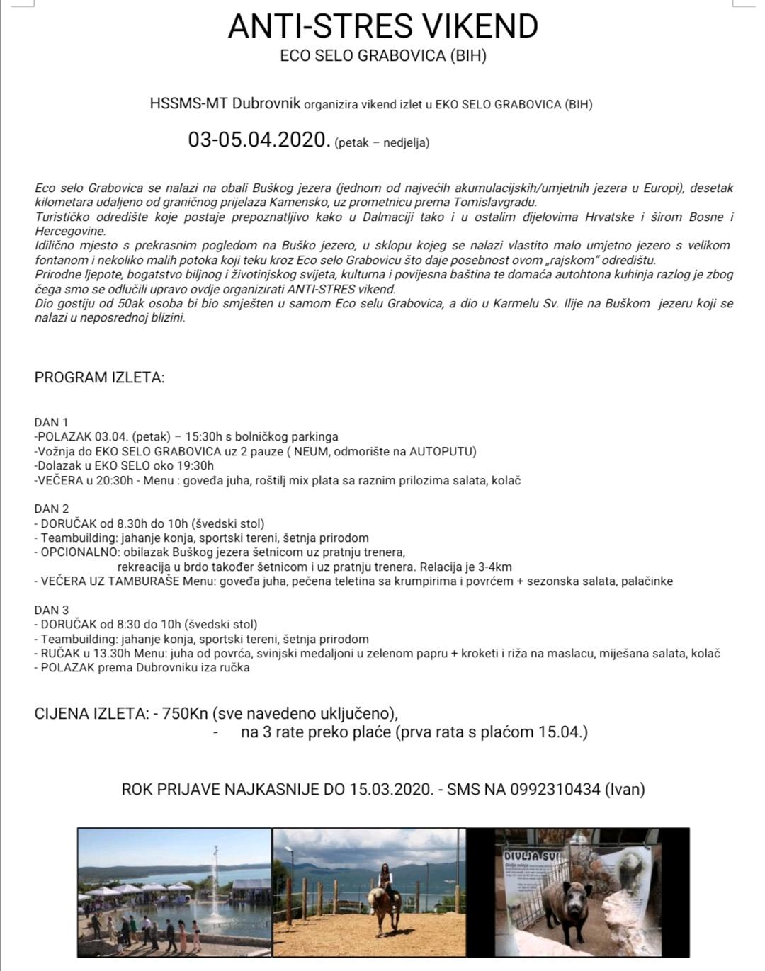 ANTI-STRES VIKEND – EKO SELO GRABOVICA 03.-05.04.